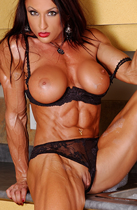 image Allison moyer in red bikini posing and flexin